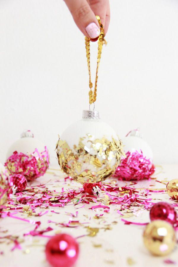 DIY: Confetti Dipped Ornaments