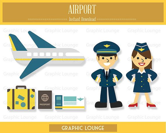 Airport Clipart. Aeroplane. Pilot. 300 dpi. Eps, Png files. Instant Download.