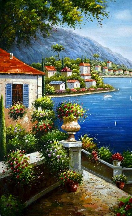 Mediterranean Sea Landscapes Oil Paintings 004