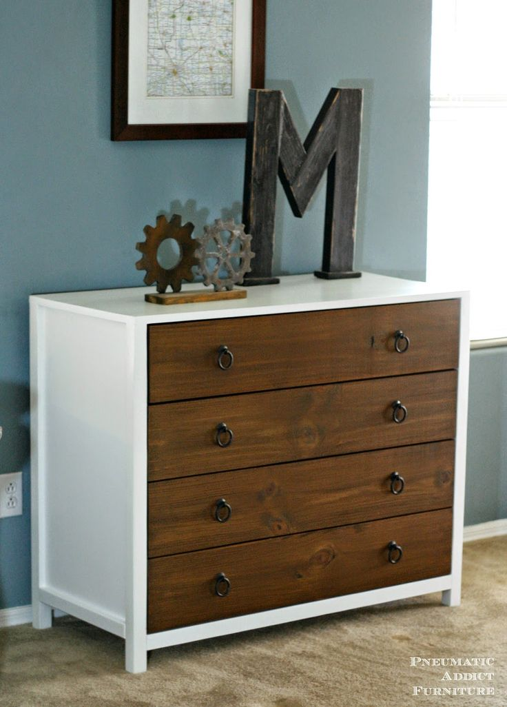 DIY Modern two tone dresser with building plans. Pottery Barn Kids knock-off.