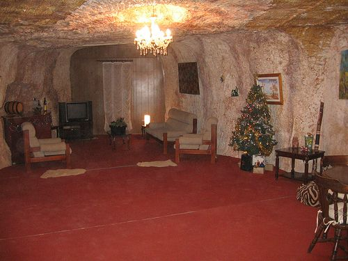 underground homes in Coober Pedy, Australia because it's so hot.
