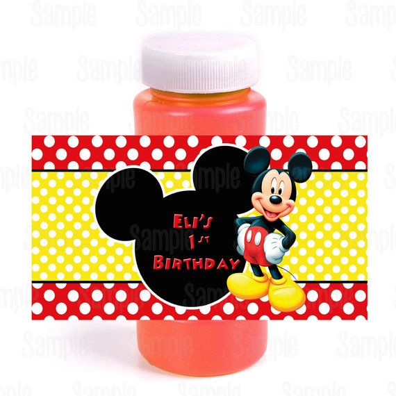 Printable Mickey Mouse Bubble Bottle Labels by PartyInnovations09, $5.00