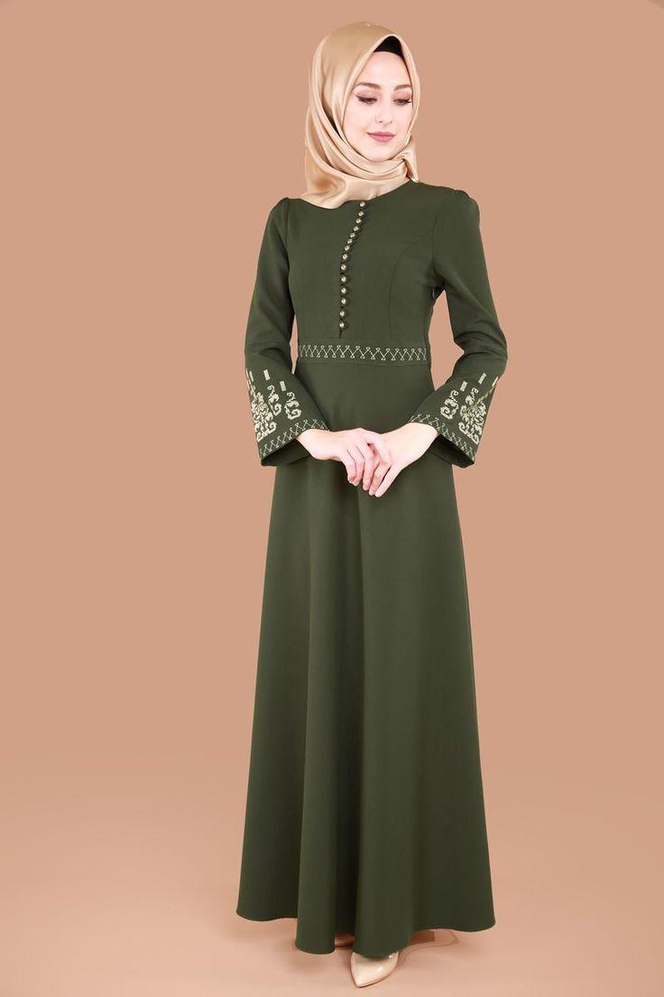 Gold Nakışlı Tesettür Elbise MSW8194 Haki
