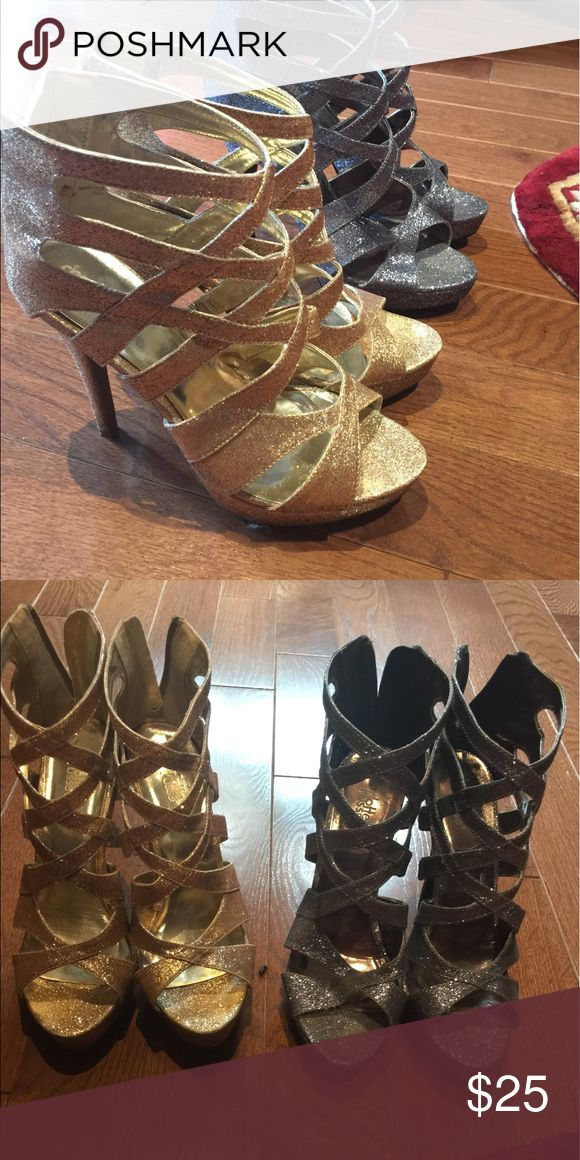 Size 8 gold and silver stiletto caged shoes Beautiful silver and gold glittered caged stilettos Charlotte Russe Shoes Heels