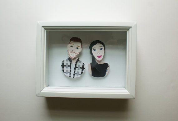 Custom Paper Portrait Two People Wedding gift or by YearOfTheBloom, $60.00