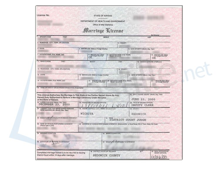 State Of Kansas Marriage License Issued By The Deputy
