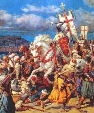 King Richard the Lionheart with the Knights Templar during the Crusades