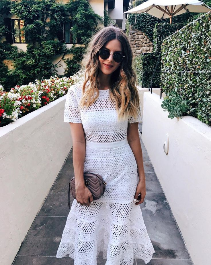 All White Mesh Dress from Self Portrait and Gucci Camera Bag