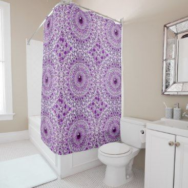 """Title : 104, BLING, Purple/White Kaleidoscope Design Shower Curtain  Description : My Customized Bling Art Designs, are flat prints. By using photo enhancement, shadowing, color-blending and the alteration of angles, I create the """"LOOK"""" of specific textures. (The same principal is used in 3-D Image Posters). I can create the desired look of Glitter, Sparkle, Reflection, but if you are not satisfied there is a 100% Guarantee. To help you find similar Bling Designs, use such keywords, as…"""