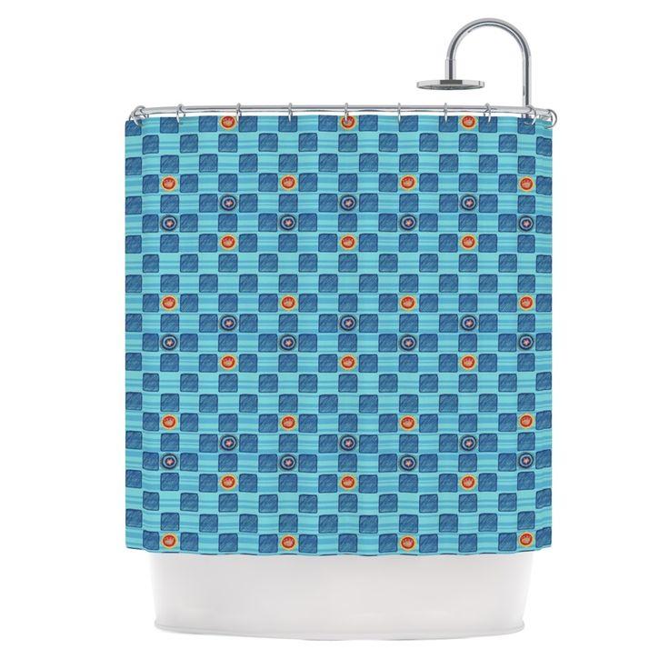 """Kess InHouse Jane Smith """"Vintage Checkerboard"""" Blue Navy Shower Curtain"""