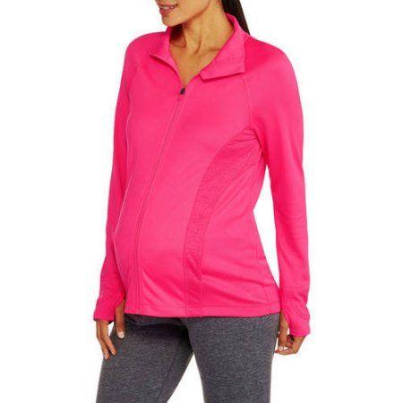 Danskin Now Maternity Zip-Up Performance Jacket, Pink