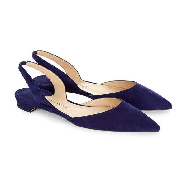 Paul Andrew Twilight Suede Slingback Rhea Sandals (3,180 CNY) ❤ liked on Polyvore featuring shoes, sandals, flats, navy sandals, navy blue flat shoes, navy blue sandals, pointed flat shoes and pointed toe slingback flats