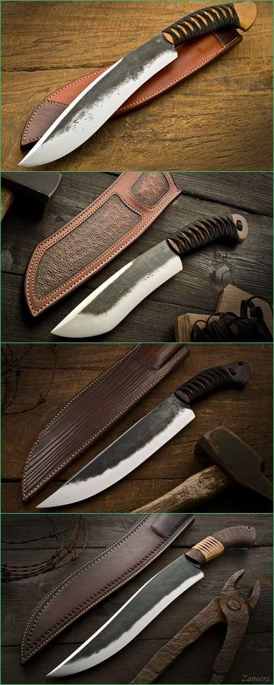 Burt Forster Handmade Knives :: Camp Knives. Top to Bottom : Bamboo Kukri, Rustic Shovelnose, Brush-Beater & Bamboo Camp Knife.