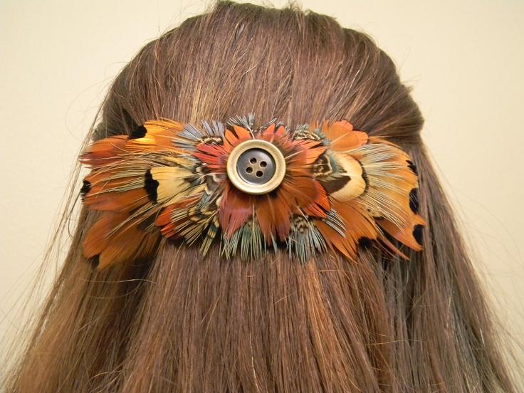 Authentic pheasant feather barrette.