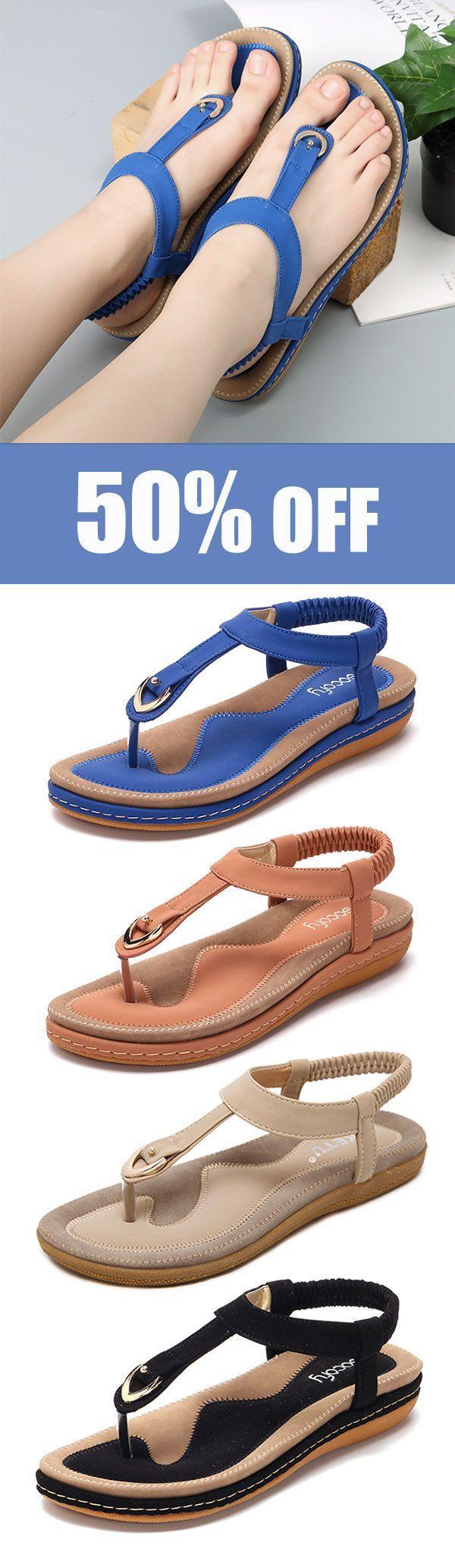 SOCOFY Comfortable Shoes Elastic Clip Toe Flat Beach Sandals US Size 5-13. #summer #fashion