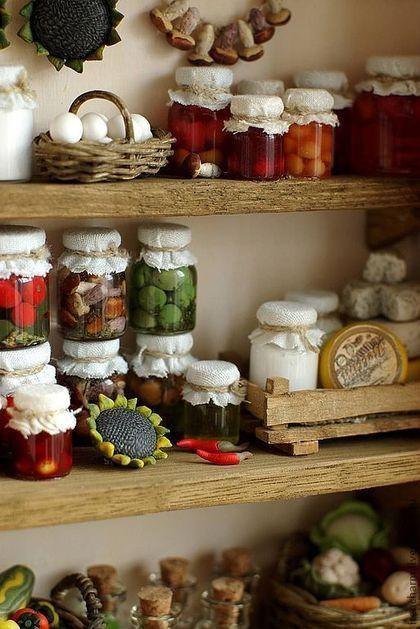 """Miniature food for toys / Кукольный дом ручной работы. Ярмарка Мастеров - ручная работа. Купить """"Кладовая"""" румбокс. Handmade. Румбокс, кукольный дом"""