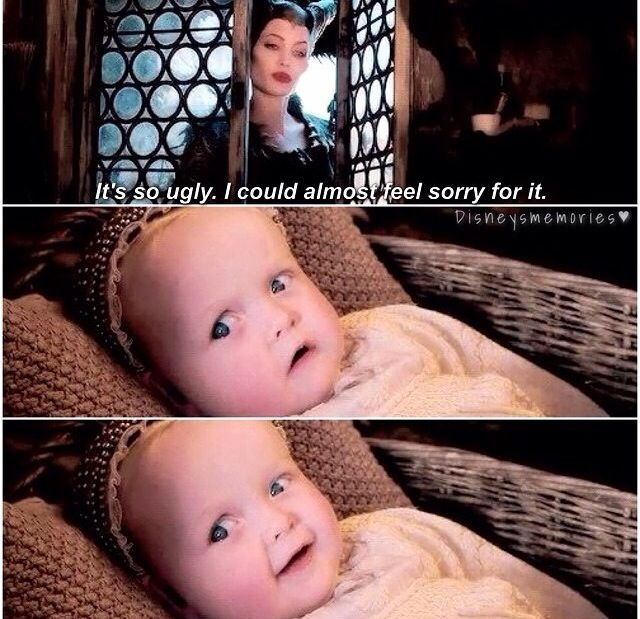 I love how Aurora isn't the slightest bit scared of Maleficent even as a baby. -p.a.