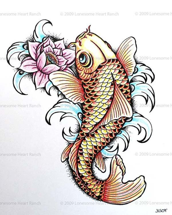 Colorful Japanese Koi Fish With Lotus Tattoo Design