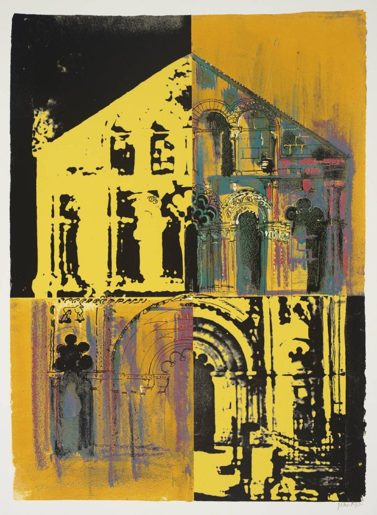 'Petit Palais: Yellow and Yellow' (1972) by British artist John Piper (1903-1992). Screenprint on paper, 782 x 573 mm. via the Tate
