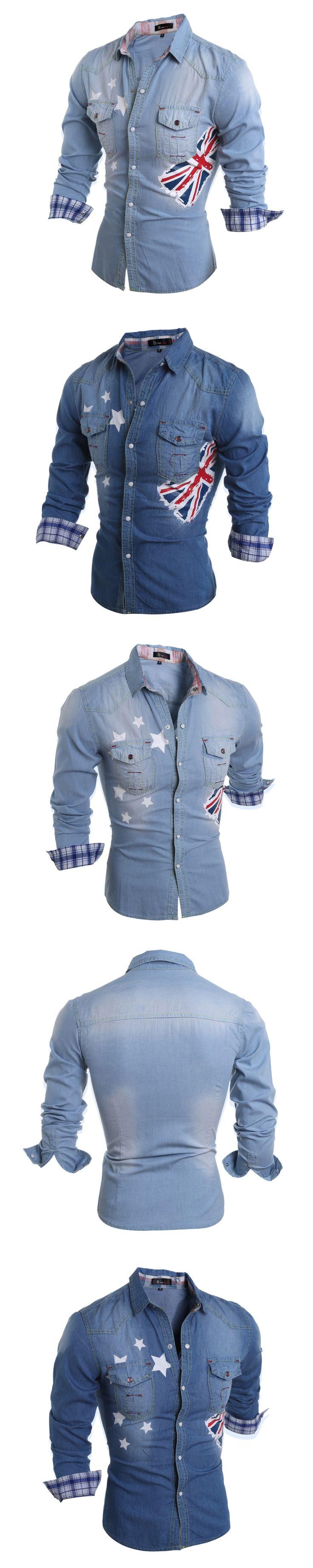 Men Shirt Size:M-2XL Autumn Winter Fashion Casual Men's Cotton Washed Printed Denim Shirts