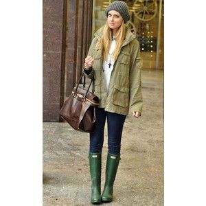 Trench coat, striped dress wellies Rainy day outfits