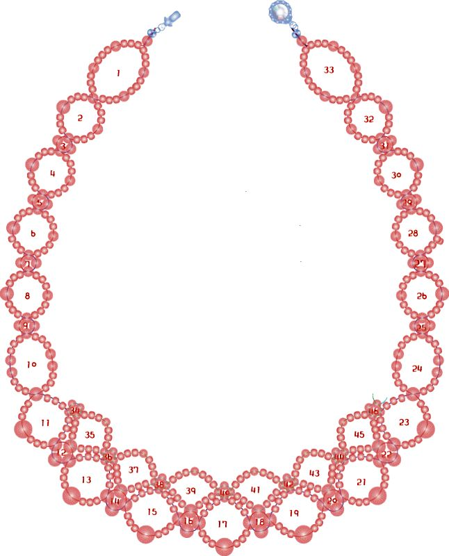 Free pattern for pretty necklace Sea Date  To bead this necklace just follow the