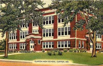 Clinton Missouri MO 1940s Clinton High School Antique Vintage Postcard