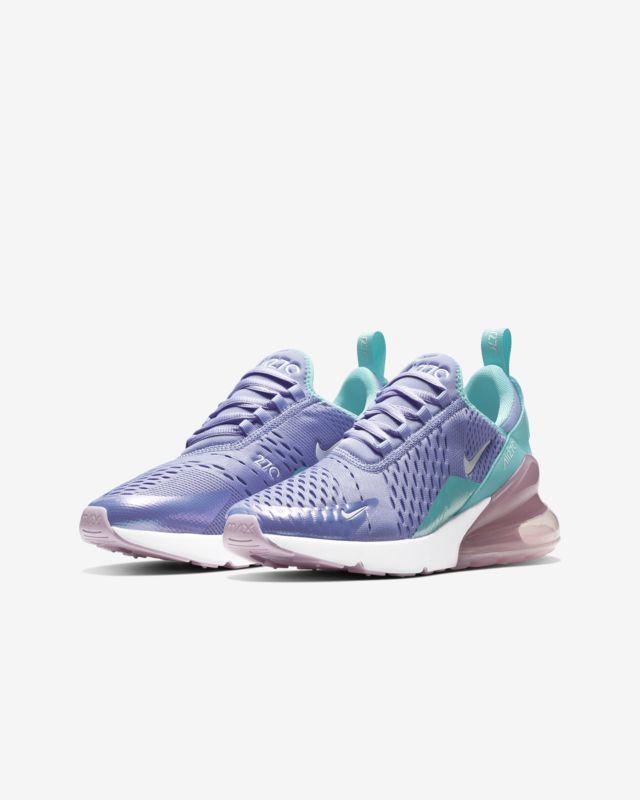 ce95f5f2db87 Nike Air Max 270 Twilight Pulse Light Aqua Purple Blue ABV1236 400 Kids  Girls GS