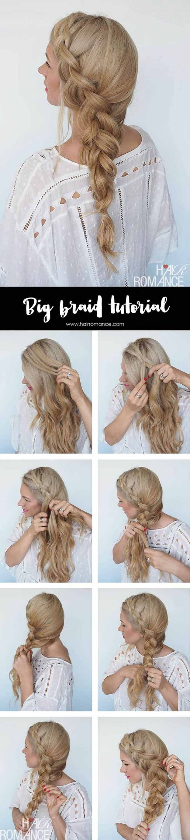 Best Pinterest Hair Tutorials - Big Braid Tutorial - Check Out These Super Cute And Super Simple Hairstyles From The Best Pinterest Hair Tutorials Including Styles Like Messy Buns And Half Up Half Down Hairdos. Dutch Braids Are Super Hot Right Now Too. These Are The Best Hairstyle Tutorials Ideas On Pinterest Right Now. Easy Hair Up And Hair Down Ideas For Short Hair, Long Hair, and Medium Length Hair. Hair Tutorials For Braids, For Curls, And Step By Step Tutorials For Prom, A Wedding, Or…