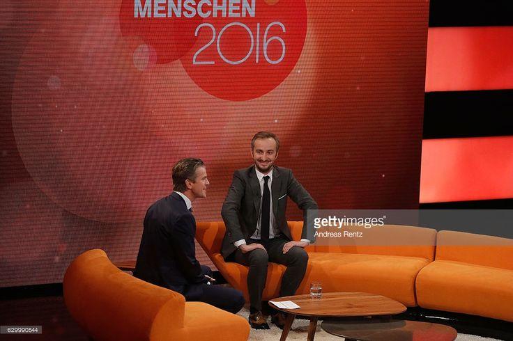 TV host Markus Lanz (L) speaks with Jan Boehmermann (R) during 'Menschen 2016' - ZDF Jahresrueckblick on December 15, 2016 in Hamburg, Germany.