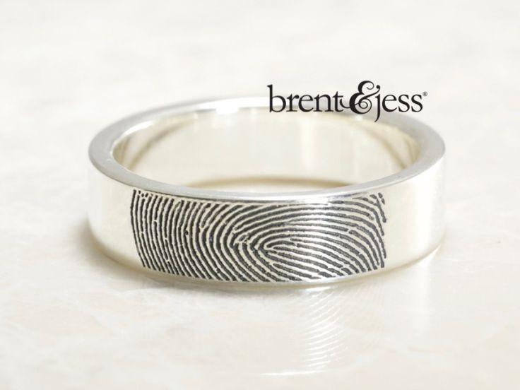 From www.brentjess.com - Wide Fingerprint Wedding Ring with Tip Print on the Outside in High Polish Sterling Silver - Custom handmade fingerprint jewelry by Brent&Jess