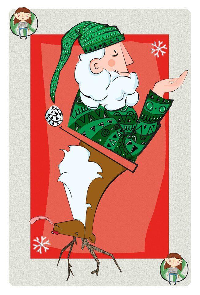 Christmas Card Santa Claus Reindeer Photoshop