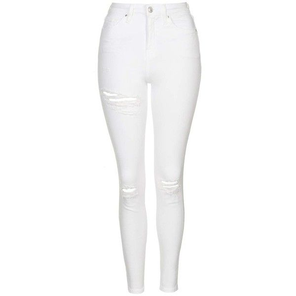 Petite Women's Topshop 'Jamie - Super Ripped' High Waist Skinny Jeans (650 NOK) ❤ liked on Polyvore featuring jeans, pants, bottoms, calça, jeans/pants, high rise skinny jeans, white high waisted skinny jeans, high-waisted jeans, ripped jeans and white ripped jeans