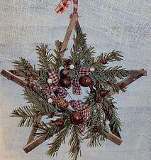 Primitive Lathe Tobacco Stick Wood Star W/Rustic Pines Berries, Bells, Homespun
