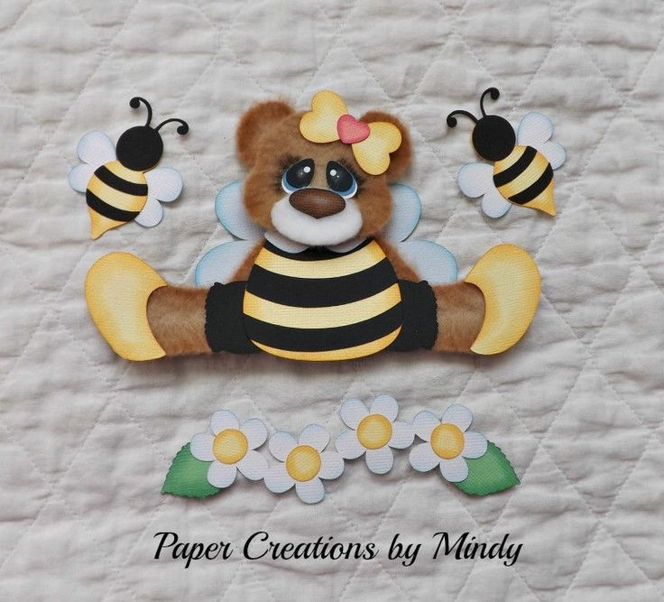 fleece spring bee bear set  premade paper piecing for scrapbooking page  ~ DT Mindy