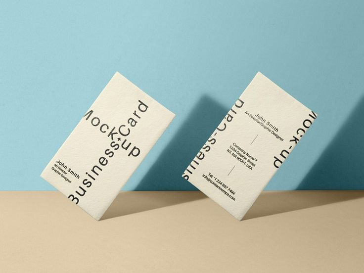 Standing Vertical Business Card MockUp