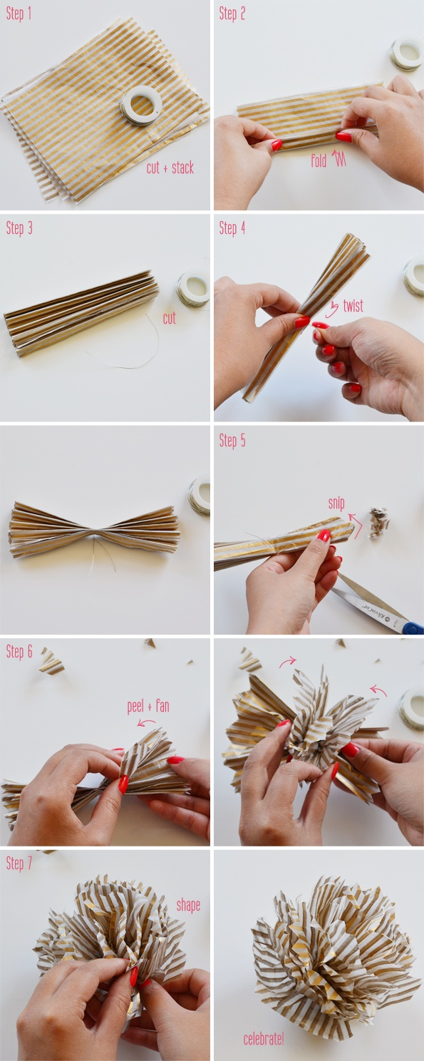 DIY striped pompoms
