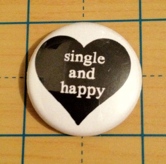 Single and Happy Black Heart Anti Valentines Day by bitpartbuttons, $1.25