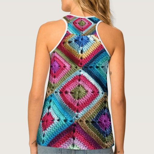 Trendy multicolored granny square crochet like tank top