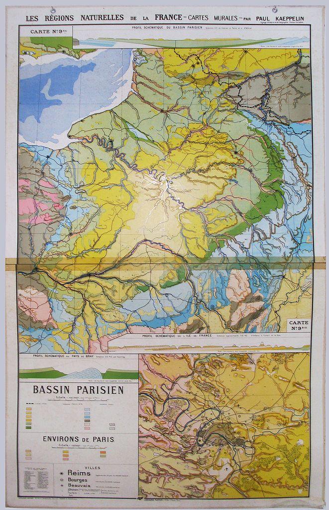 N 9bis Rare Et Ancienne Carte Scolaire Hatier Bassin Parisien
