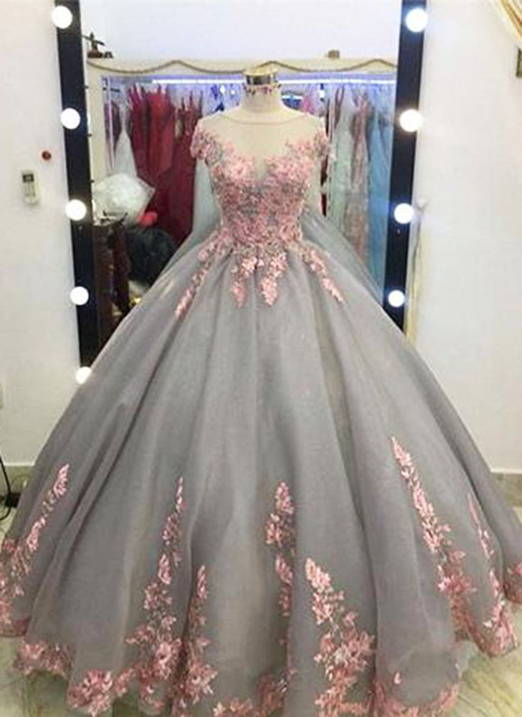 Unique Grey Long Ball Gown,Appliqued Cap Sleeves Prom Dress,Big Wedding Dresses,Grey Formal Evening Dress,Gray Quinceanera Dresses