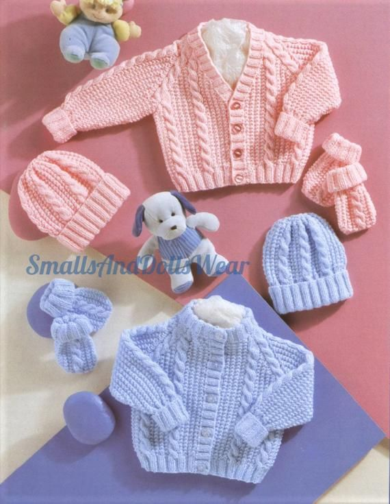 Knitting Pattern Boy/'s Cute DK Cable Sweater /& Hat Set 46-51 cm 36