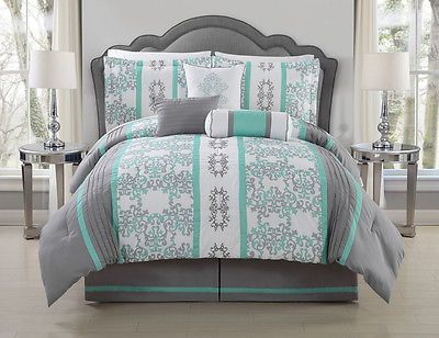 7 Piece Alieli Gray/Mint Comforter Set