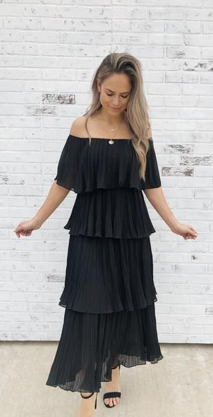 aa10d9076252 Laila-Black. Romantic off-the-shoulder midi dress. Layered ruffled dress.  Full of movement. Dress up style. Spring fashion. Spring style. Loose fit.