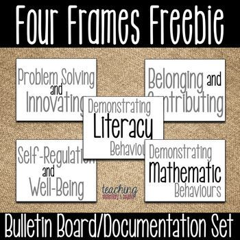 I love using this freebie bulletin board set to show of my students work! It allows us to have a different board for each of the four frames!
