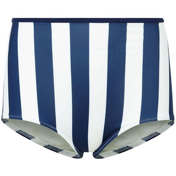 Solid & Striped Navy & Cream Brigette Pant ($110) ❤ liked on Polyvore featuring swimwear, bikinis, bikini bottoms, swim tops, striped bikini top, retro high waisted bikini, thin bikini and navy bikini
