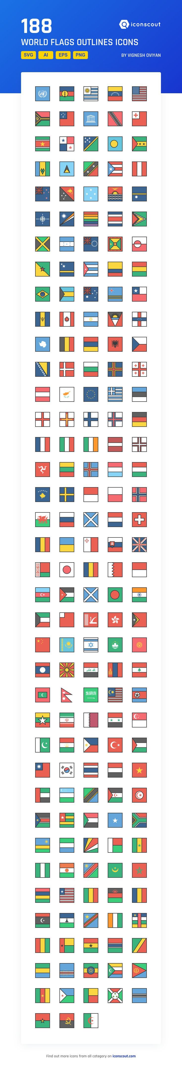 World Flags Outlines  Icon Pack - 188 Filled Outline Icons