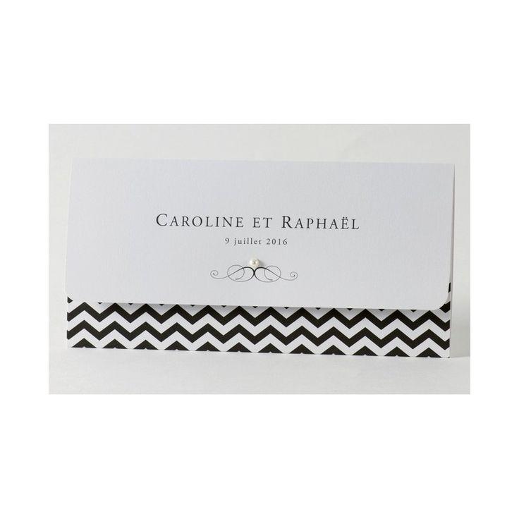 Faire-part de mariage chic gay noir et blanc  Buromac Papillons 105.011