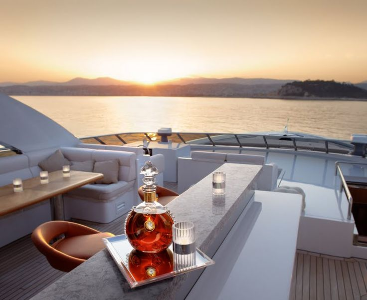 """Sweet Dream at Sunset with a glass of Louis XIII #cognac #boating"""