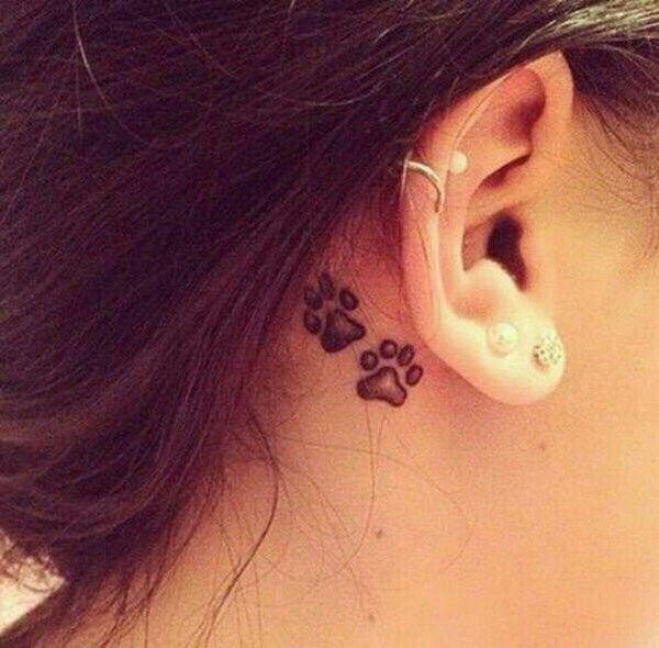 Cute Dog Paw Ear Tattoo Idea.